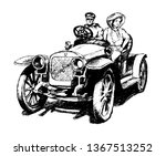 Hand drawn sketch of man and woman in the Russian retro car Russo-Balt 1909 isolated on white background. Vector illustration.