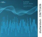 digital blue equalizer... | Shutterstock .eps vector #136751636