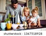 family with cute girl having... | Shutterstock . vector #1367518928