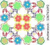 cute seamless owl background... | Shutterstock . vector #136761692