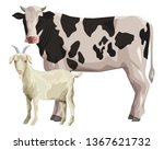 cow and goat | Shutterstock .eps vector #1367621732