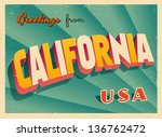 vintage touristic greeting card ... | Shutterstock .eps vector #136762472