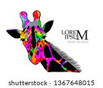 colorful giraffe. vector | Shutterstock .eps vector #1367648015