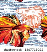 seamless pattern with aquarium ... | Shutterstock .eps vector #1367719022