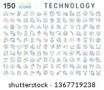 set of line icons of technology ... | Shutterstock . vector #1367719238