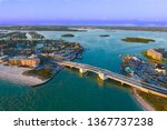 Aerial View of Johns Pass Village and Boardwalk at Madeira Beach, Florida.