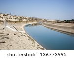 Irrigation Canal supplying water to the crops of the Coachella Valley - stock photo