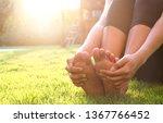 foot pain leg of woman sitting... | Shutterstock . vector #1367766452