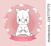 cute rhino hello spring cartoon ... | Shutterstock .eps vector #1367773775