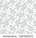 pink flower green leaves... | Shutterstock .eps vector #1367856512