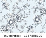roses and spring flowers... | Shutterstock .eps vector #1367858102