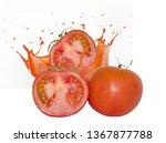 three ripe juicy tomato and a... | Shutterstock . vector #1367877788