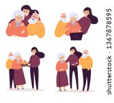 young woman reconnect with old... | Shutterstock .eps vector #1367878595