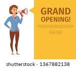 woman holding loudspeaker...   Shutterstock .eps vector #1367882138