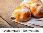 hot cross buns on basket top... | Shutterstock . vector #1367900882
