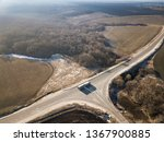 aerial top view of highway... | Shutterstock . vector #1367900885