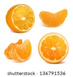 oranges. cut oranges and... | Shutterstock .eps vector #136791536