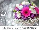 wedding bouquet of pink flowers ... | Shutterstock . vector #1367936075