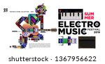 vector summer electro music... | Shutterstock .eps vector #1367956622