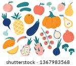hand drawn fruits and... | Shutterstock .eps vector #1367983568