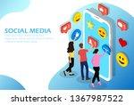 isometric social network in... | Shutterstock .eps vector #1367987522