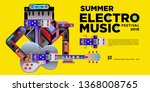 vector summer electro music... | Shutterstock .eps vector #1368008765