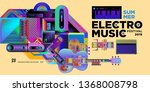 vector summer electro music... | Shutterstock .eps vector #1368008798