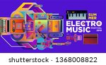 vector summer electro music... | Shutterstock .eps vector #1368008822