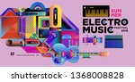 vector summer electro music... | Shutterstock .eps vector #1368008828