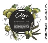 vector sketch olive banner on... | Shutterstock .eps vector #1368035492