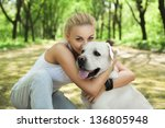 attractive blond young girl... | Shutterstock . vector #136805948