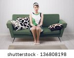 Portrait Of Retro Woman Sittin...