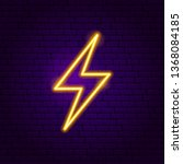 Lightning Neon Label. Vector...