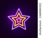 Festive Star Neon Label. Vecto...