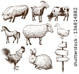 animal,animal breeding,animal husbandry,art,backgrounds,bird,black,chicken,cockerel,collection,country,countryside,cow,drawing,eggs