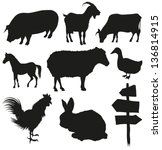 Stock vector set of farm animals isolated on a white backgrounds 136814915