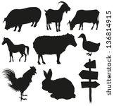 Set Of Farm Animals Isolated O...
