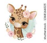 Cute Flowery Giraffe
