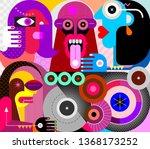 four people use drugs. strange... | Shutterstock .eps vector #1368173252