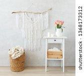 spring boho home interior decor ... | Shutterstock . vector #1368173312