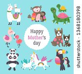 mother's day cute animals set... | Shutterstock .eps vector #1368180398