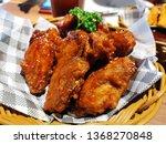 crispy chicken wings with bbq...   Shutterstock . vector #1368270848