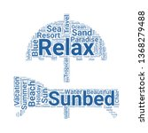 sunbed word cloud. tag cloud... | Shutterstock .eps vector #1368279488