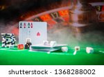 cards and chips on green felt... | Shutterstock . vector #1368288002