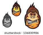 angry monkey head in cartoon...