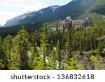 Banff Springs Hotel in the Canadian Rockies with Bow River in the foreground
