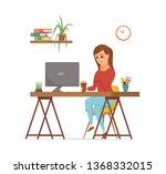 woman working on computer...   Shutterstock .eps vector #1368332015
