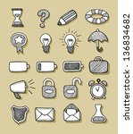 icons hand drawn 1. good use... | Shutterstock .eps vector #136834682