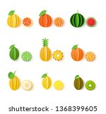 set of tropical fruits in paper ... | Shutterstock .eps vector #1368399605