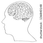 vector of human brain sketched... | Shutterstock .eps vector #136840148